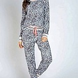 Thermal Lounge Pink Leopard Animal Print Pajama Set