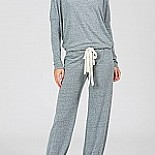 Slouchy Heather Cotton Blend Pajama Set with Cropped Pant