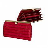Cate Accordian Wallet in Vintage Croc Leather