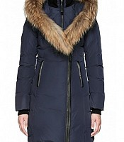 KAY Mid Length Winter Down Coat with Fur Collar in Ink