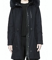 RENA W Fur-Lined Twill Wool Parka with Hood in Navy