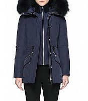 Katryn Hip Length Winter Down Jacket with Fur in Ink