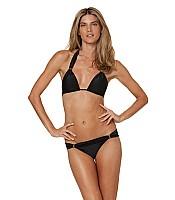 Solid Black Bia Tube Bikini Set