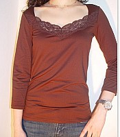 Only Hearts Lace Inset Three Quarter Sleeve Top