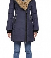KAY-F4 Long Navy Down Winter Coat with Fur Trimmed Hood