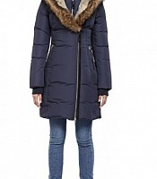 Trish F-4 Long Winter Down Coat with Fur Hood