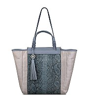 Joey Tote in Silver Metallic Linen