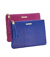 All in One Clutch in Embossed Python