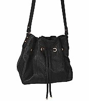 Peyton Snake Embossed Drawstring Handbags