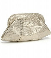 Lucy Champagne Snake Embossed Goat Suede Clutch