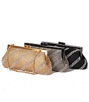Diagonal Stripe Mesh Clutch