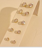 Cubic Zirconia Pierced Stud Earrings