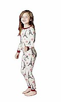 Kids Christmas Eiffel Tower Stretch Long Sleeve 2pc PJ  2010-K-2303