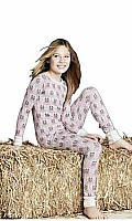 Pink Barn Owl Stretch Long Sleeve Tween 2 piece PJ Set 2010-T-2294