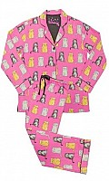 Wise Cats Flannel Pajama Set
