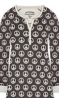 Peace Treaty Velour Thermal Pajama Set in Charcoal