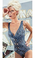 Karla Colletto Denim Animal Print Ruched V-neck swimsuit 276-N70