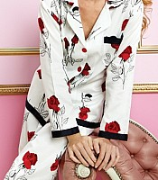 Red Glamour Rose Long Sleeve Ribbon PJ Set