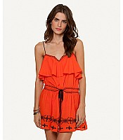 Sofia Solid Tangerine Nathalia Embroidery Short Dress