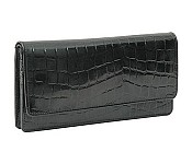 Antique Croco Gusseted Clutch Wallet AC434
