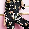 Black New York Botanical Long Sleeve Ribbon PJ Set