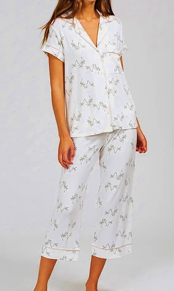 Gisele Printed Short Sleeve and Cropped Pant PJ Set