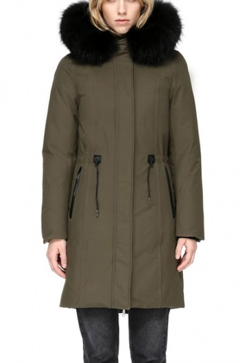 ENIA MID LENGTH WINTER DOWN COAT WITH FUR