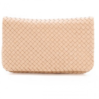Classic Weave Flap Over Clutch with Detachable Crossbody Strap