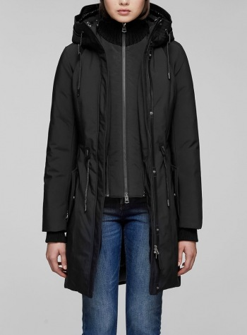 BECKAH Fitted Parka with Removable Bib and Rib Collar