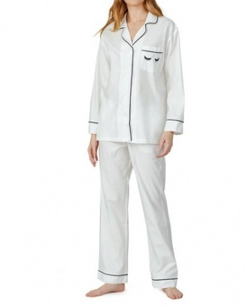 Solid White Ivory Long Sleeve Classic PJ Set - Eyelash Pocket