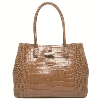 Roseau Croco Shoulder Tote