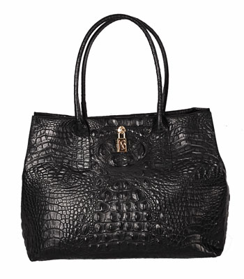 Papermoon Croc Tote Bag in Black