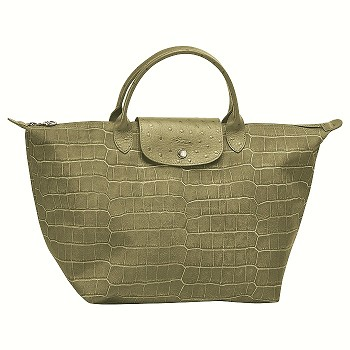 Le Pliage Croco Medium Top Handle
