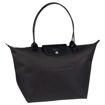 Planetes Large Black Long Handle Shopping Tote