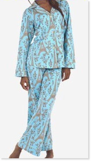 Blue Eiffel Tower Stretch Pajama Set