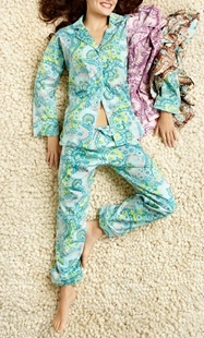 Palm Springs Paisley Stretch Classic Pajama Set in CHOCOLATE