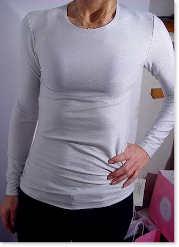Metallic Long Sleeve Crew Neck